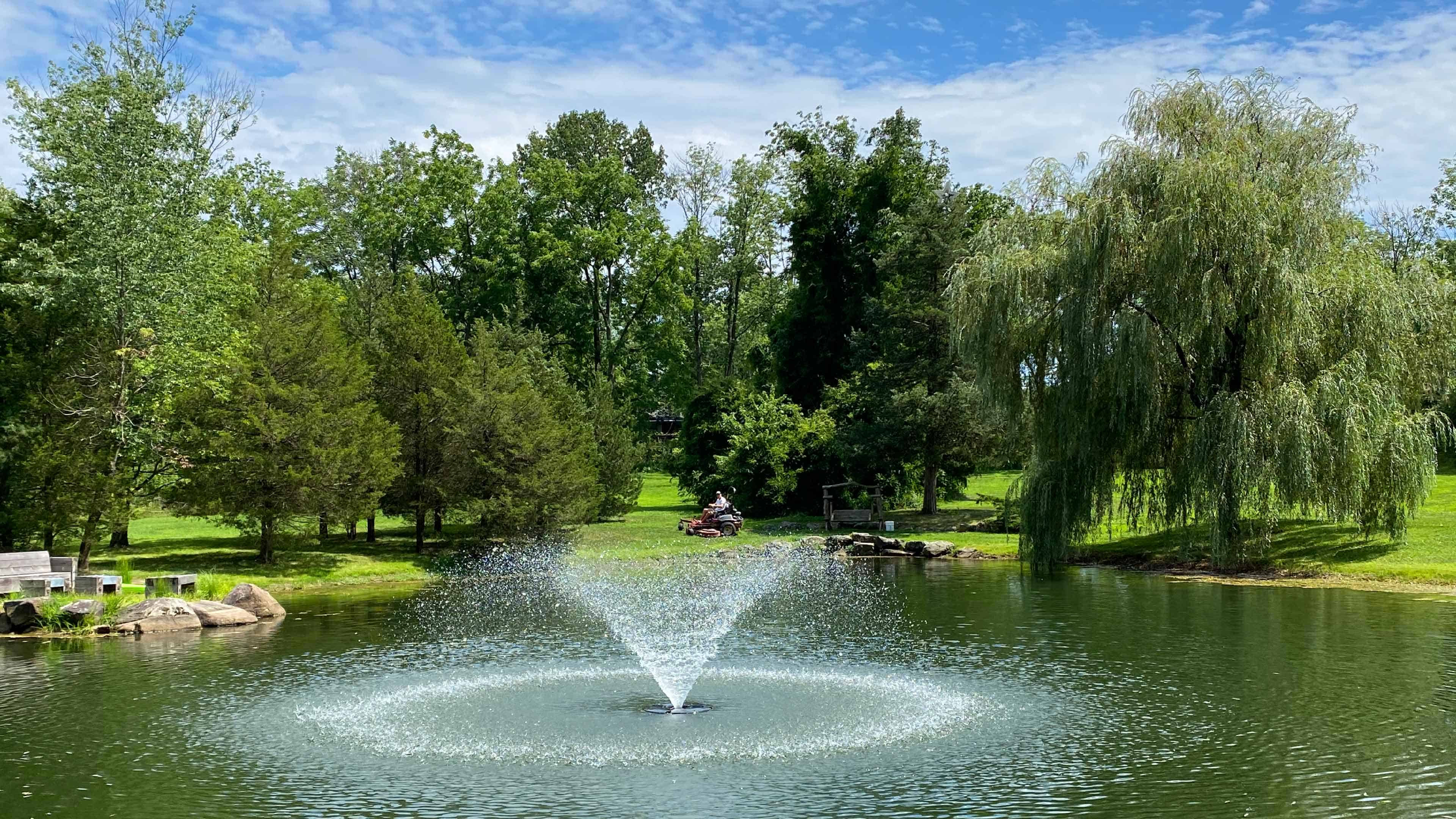 Regular water feature Mmaintenance keeps water running clear and clean.