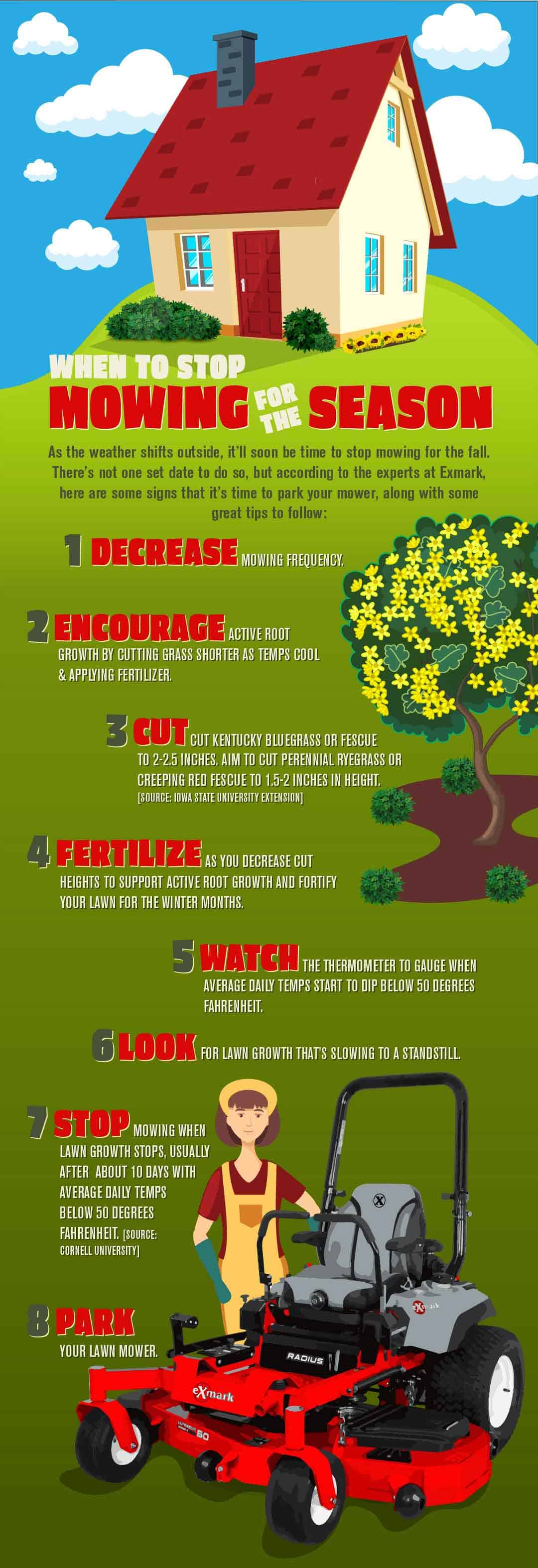 When to stop mowing for the season infographic with tips for fall lawn care