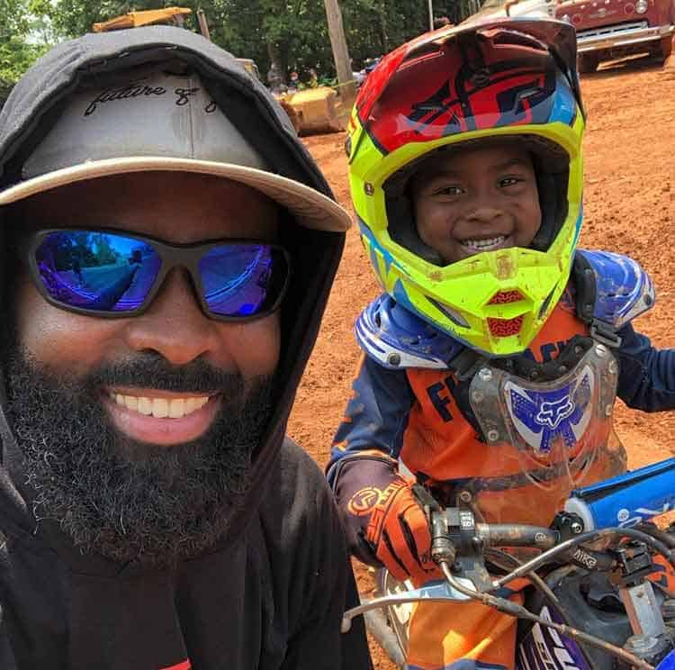 Brian Latimer's son loves using their backyard tabletop jump for dirt bikes