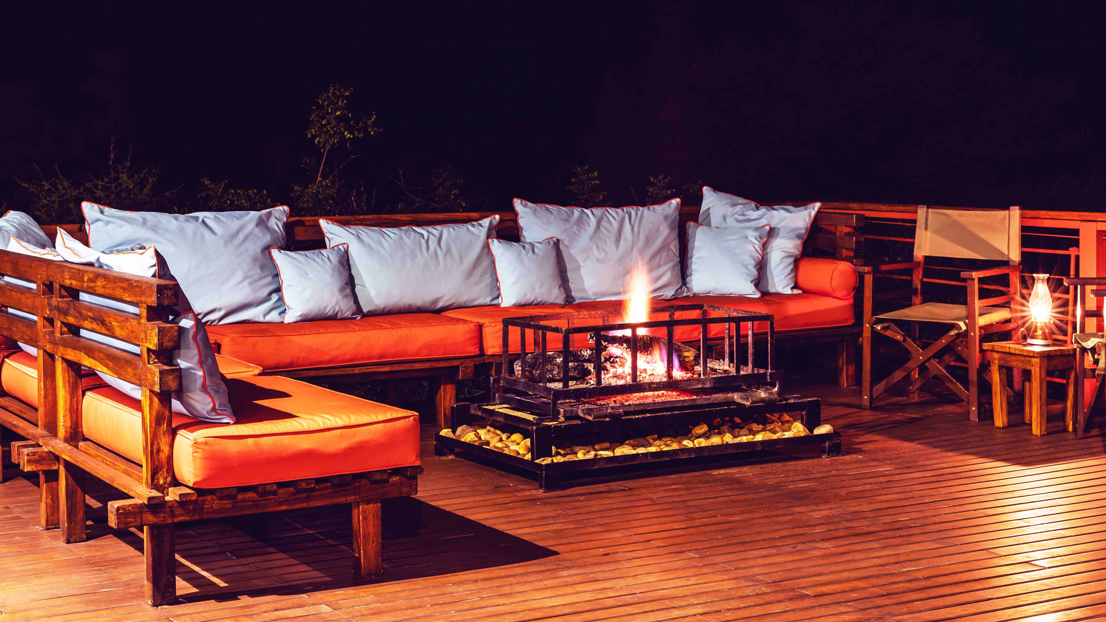 Create outdoor ambiance with an electric fireplace.