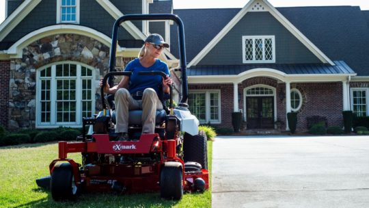 Mowing lawn during summer