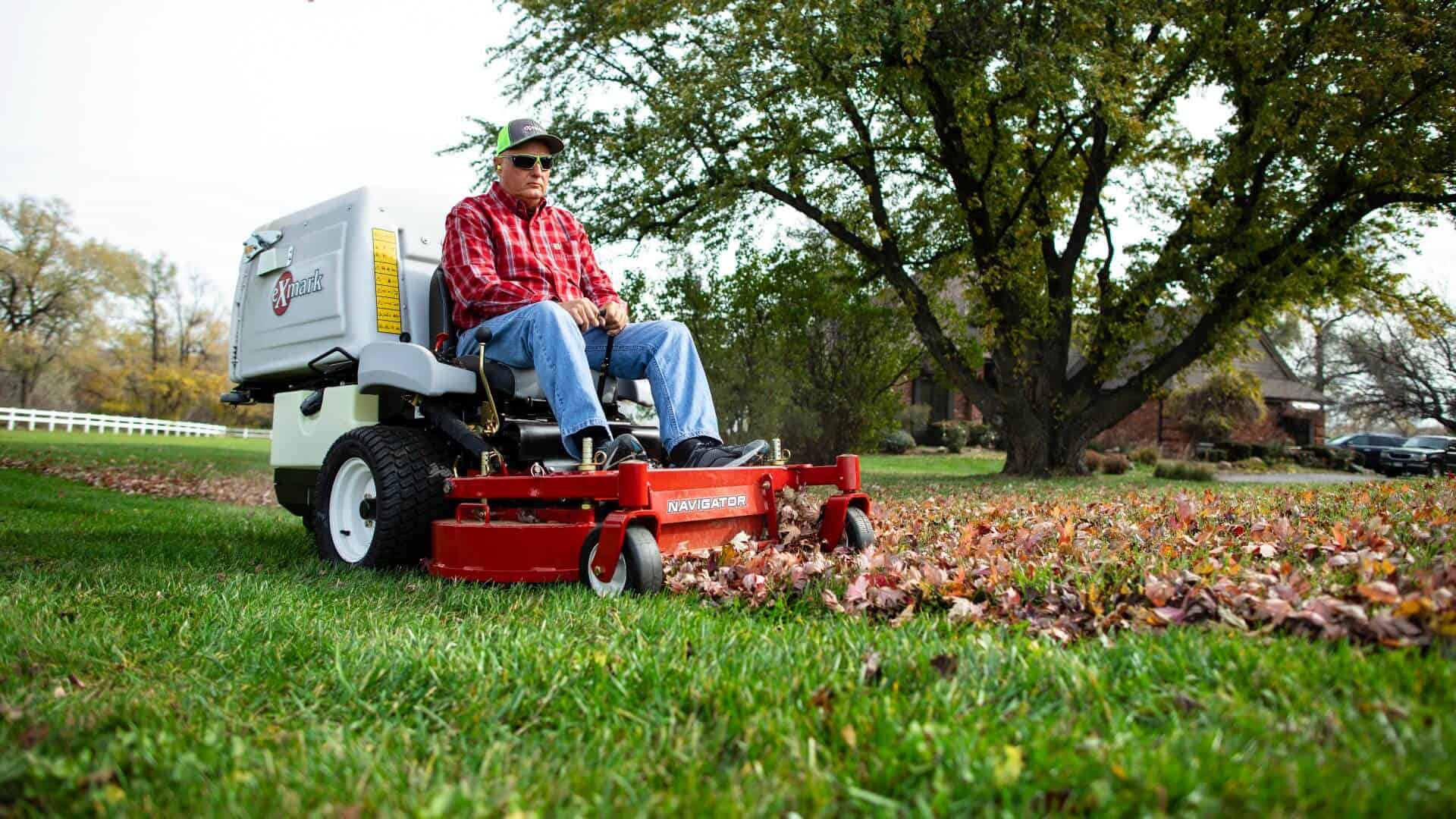 Exmark mower used to pick up fall leaves