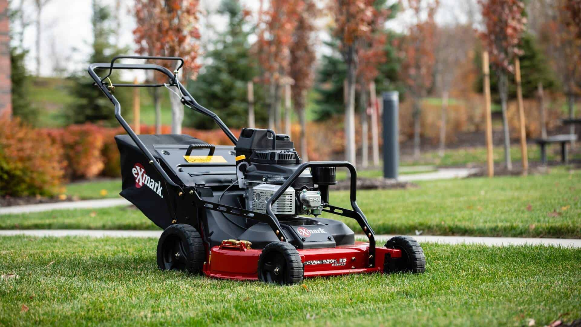 Exmark mower at the end of the season, ready for fall mower maintenance and winterizing