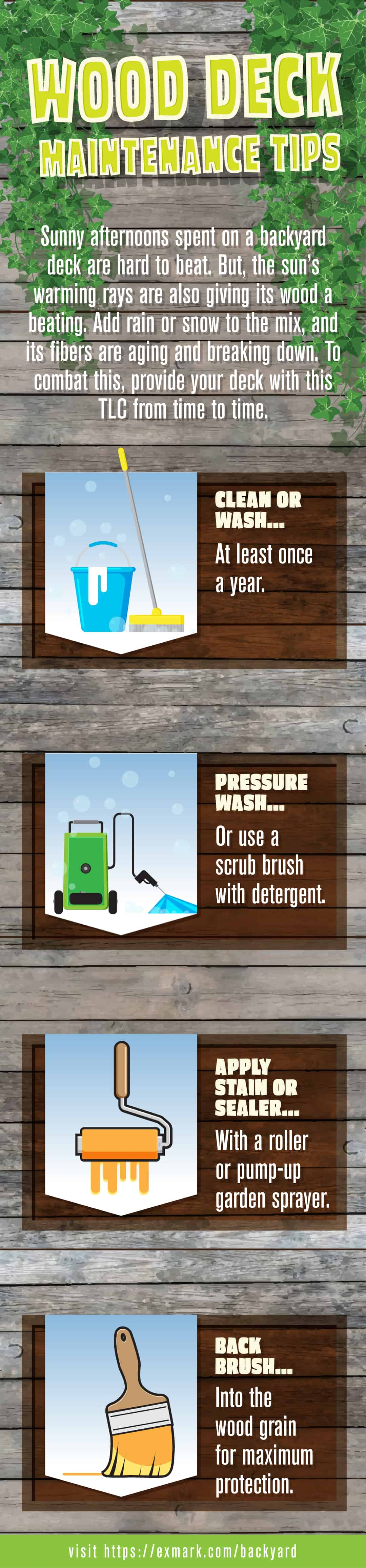 Wood Deck Maintenance Tips infographic